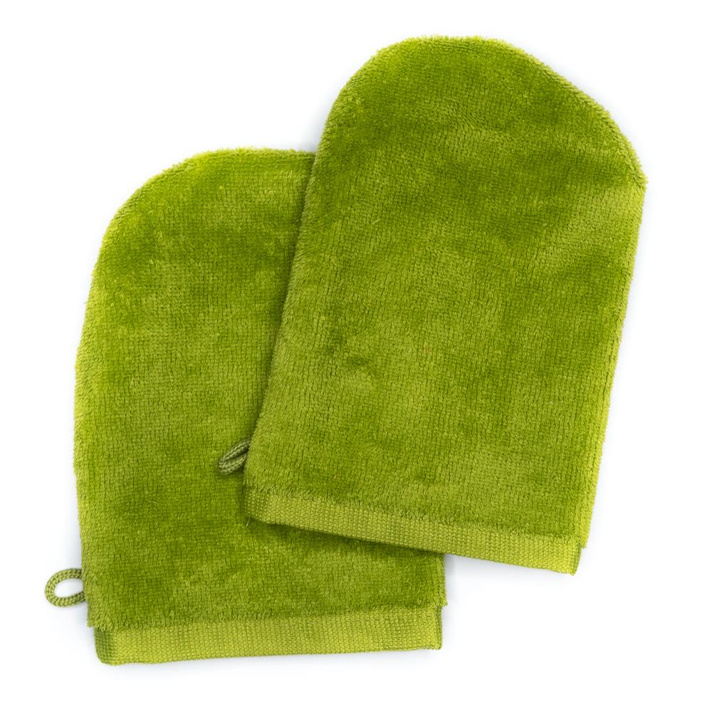 Waschhandschuhe 14x21 apfelgrün (2er-Set)